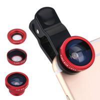 makro lens mobil toptan satış-3 in1 Evrensel Klip + Balık Gözü + Geniş Açı + Makro Lens iphone 5/6 Samsung LG HTC Moto Xiaomi Huawei Cep Telefonu Balıkgözü Lens