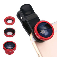 Wholesale Iphone Fish Lens - 3 in1 Universal Clip+Fish Eye+Wide Angle+Macro Lens For iPhone 5 6 Samsung LG HTC Moto Xiaomi Huawei Mobile Phone Fisheye Lens