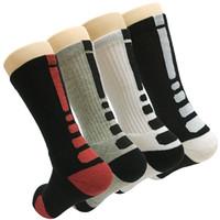 ingrosso calzini da equipaggio atletico-Calzini atletici di pallacanestro di compressione degli uomini di modo del pacchetto di 4 uomini Calzini comitati della squadra di compressione di sport, dimensione 7-13
