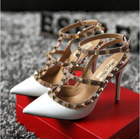 Wholesale Beige Wedding Boxes - Brand v shoes Women Pumps Wedding Shoes Woman High Heels Sandals Ankle Straps Rivets Sexy High Heels Bridal Shoes 8cm 10cm + box