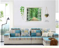 Wholesale Tree Window Art Decals - AY823 Free shipping 3D View Window Decal Family Tree Wall Sticker Art Mural Wall Poster Parlor Kids Home Decor