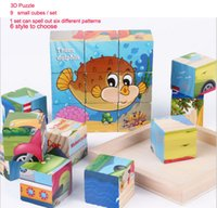 Wholesale 3D Cartoon Wooden Puzzle Toys Cute Animals Six Sides Puzzles Jigsaw Toys for Kids Children Baby Educational Brain Develop Toys