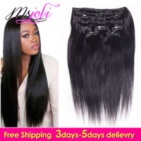 7A Virgin Indian Human Hair Clip En Extension Straight Full Head Couleur Naturelle 7Pcs / lot 12-28 Pouces De Ms Joli