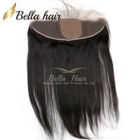 saç eklentileri düz ipek kapatma toptan satış-8-22 inç Ipek Taban Dantel Frontal Kapatma 13 * 4 Brezilyalı Düz Saç Adet İnsan Saç Uzantıları Bella Saç Ücretsiz Nakliye