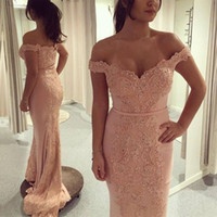 Wholesale gray mermaid ball dress for sale - Group buy Coral New Design Mermaid Evening Dresses Off Shoulder Lace Applique Applique Lace Sweep Train Ball Gown Prom Dress Party Gowns Custom