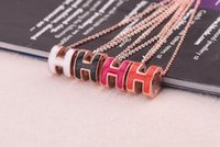 Wholesale Enamel Link Necklace - Hot Brand Top Quality Women's Unique Enamel color glaze Pendant Necklace Clavicle chain Titanium steel 316L Rose Gold Short Necklace