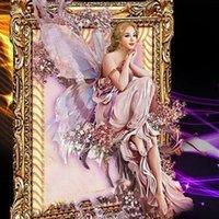 Wholesale Butterfly Umbrellas - Butterfly Fairy DIY 5D Diamond painting cross stitch 5D Round Diamond Painting Style Russian Beauty Cartoon Girl Creative Cross