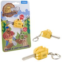 Wholesale Fun Tools - Spinning Hat Key Chainsaw tool with LED Light Keychain Lumberjacks Chainsaw Key Cover with electric saw Sound Noisy & LED Torch Fun Key ring