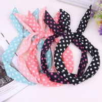 Wholesale Rabbit Ear Pony Tail - 2017 Wholesale 9 Colors Little Bow Tie Rabbit Ears Hair Band Circular Wave Point Headdress Jewelry