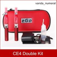 ego double ce4 fall großhandel-Ego CE4 Starter Kit Reißverschlussetui Doppel-Kit Elektronische Zigarette E-Zigarette 2 Zerstäuber 2 Batterie 650mah 900mah 1100mah 9 Farben