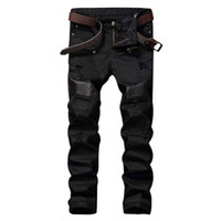 Wholesale Leather Joggers Pants - Fashion Designer Hip Hop Mens Ripped Biker Jeans Leather Patchwork Slim Fit Black Denim Joggers For Male Distressed Jeans Pants 29-38