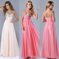 Wholesale Long Spaghetti Strapped Dress Embellished - Elegant Long Chiffon Gown 2017 Sweetheart Neckline Spaghetti Straps Embellished with Beads Crystal Pleat A Line Formal Occasion evening