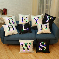 "Wholesale Sofas Letter - Pillow Case LED lantern letters Pillow Cases Cushion Covers 18"" x 18"" Color Lighting LED Cushion Cover Home Decor Throw Pillowcase Sofa Flas"