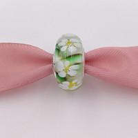 perles de verre de murano fleurs achat en gros de-Authentique Perles En Argent 925 Fleurs Sauvages En Verre De Murano Charme Breloques Convient Aux Bijoux De Style Pandora Européens Bracelets Collier