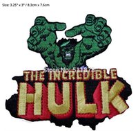 "Wholesale Incredible Hulk Comics - 3.3"" Marvel Comics THE INCREDIBLE HULK Reaching TV Movie Uniform punk rockabilly applique iron on patch Free Shipping"