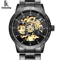 ik skelettuhr großhandel-Großhandels-IK goldene schwarze Luxuxuhr-Mens-automatische Skeleton mechanische Armbanduhren-Art- und Weisebeiläufiger Edelstahl Relogio Masculino