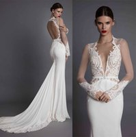 Wholesale Embroidered Strapless Dresses - elegant sexy opealongn low back sheath wedding dresses 2017 muse berta bridal strapless deep plunging sweetheart neckline embroidered bodice