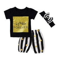 "Wholesale Forever 12 - INS ""Forever"" Letter Print Girls Grid Gold Tshirt 3pc set summer girls black letter tops & striped gold dot shorts pants & big bow headband"