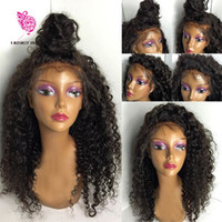 Wholesale Deep Curly Wigs - Deep Curly Brazilian Full Lace wigs Virgin Hair Glueless Full Lace Human hair wigs with baby hair lace front wig for black women