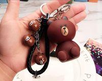 Wholesale Key Couple Cute - New Wholesale Cartoon cute bear rabbit doll couple keychain car leather rope key chain bag pendant