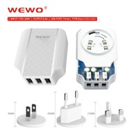 Wholesale Universal Adapter For Europe - WEWO 5V 3.4A EU Europe US UK Standard Plugs Chargers AC Home Wall Charger Adapter 3Ports USB Chargers for Cell Phone With retail package