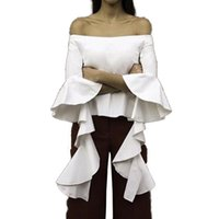 Wholesale Ruffles Shirt - Off Shoulder Blouses Blusas Summer Tops White Women's Shirt Summer Ruffles Shirts Women Kimono Top Female Blouses Plus Blusa