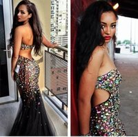 Wholesale Short Prom Dresses Tull - Free Shipping Bling Bling Strapless Backless Black Tull Beaded Long Mermiad Sexy Evening Dresses 2017 Vestidos Com Pedrarias Longo