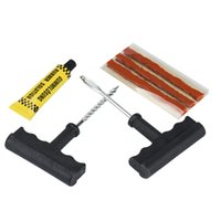 Wholesale Repair Cement - tubeless tyre puncture kit Puncture Repair Plug Kit Needle Patch Fix Tools Cement Useful