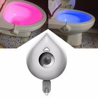 Wholesale Water Night Lights - 8 colours sensor Body Motion Sensor PIR Toilet Night Light Sensor Toilet Seat LED Lamp Motion Activated Toilet Bowl Smart Light