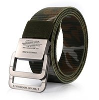 Nova Moda Mens Canvas Cinto Stripe Strap For Jeans Equipamento militar Double Ring Buckle Camouflage Man Star Belts