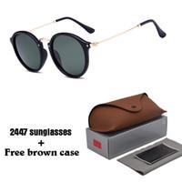 marcos redondos al por mayor-Marca de moda 2018 Gafas de sol Hombres Mujeres gatsby Retro Vintage gafas de gafas de montura redonda Diseñador Gafas de sol con estuches y estuches marrones