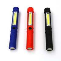 Wholesale Tactical Flashlight Clip - COB Led Portable Plastic Light LED Pen Flashlight Torch Lamps With Magnetic Clip Inspection Working Light Camping Outdoor Sport Light