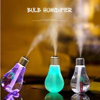 Wholesale Diy Table Usb - Wholesale- LED Ultrasonic Humidifier Colorful Bulb USB Mini humidificador Air Purifier Atomizer Night Lights for Car Home Table Free ship