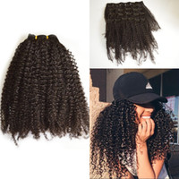 Wholesale Extension Hair Clip Pcs - Clip in Human Hair Extension 7 Pcs set Indian Virgin Hair Kinky Curly Clip ins for African American FDSHINE HAIR