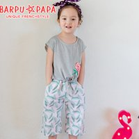 Wholesale Korea Top Tee - HOT Korea Girls Outfits Sets Striped Rose Flower Cute Bowknot Tops Tee + LeavesPants 2pcs Set Kids Clothes Pure Cotton Casual Suits A7020