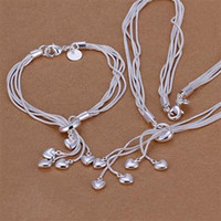 Wholesale Tai Gold - 925 silver, Tai Chi hanging five hearts two sets of fashion heart shaped silver jewelry foreign trade suit S009