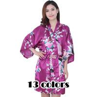 Wholesale kimono cheap - Wholesale- 2017 Autumn Kimono Artificial Silk Robe Sexy Bathrobe Floral Robes Women Print Floral Vestidos China Cheap Clothes Sleepwear