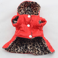 Wholesale Dog Dress Hoodie - Cute Pets Dogs Leopard Dress Tops Puppy Cotton Hoodie Clothes XS-XL Costumes