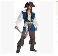 Wholesale Caribbean Party Games - 2017 wholesale men pirates Pirates of the Caribbean is installed Halloween game male clothing cosplay party cole Captain jack sparrow