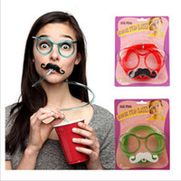Wholesale Colorful Plastic Sunglasses - Beard Sunglasses Drinking Straw Funny Kids Colorful Soft Plastic Glasses DIY Straw Unique Flexible Drinking Sunglasses Tube Kids Party Gift