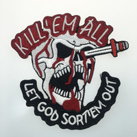 Evil Skull Embroidered Iron On Clothing Kill'EM All Patch Biker Jacket Patch Applique Embroidery Motor Patch Free Shipping