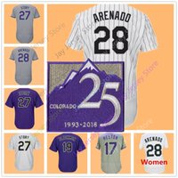 Wholesale Grey Pinstripe - Nolan Arenado Jersey 25 25TH season Patch Todd Helton Charlie Blackmon Trevor Story Colorado Jerseys White Pinstripe Men Women Youth Kid
