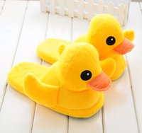 Wholesale Novelty Rubber Ducks - 171026002 2017 F high quality indoor cartoon funny pattern plush yellow duck Winter cotton shoes Home warm lovers slippers Rubber Duck