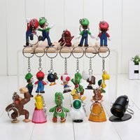 Wholesale Mario Accessories Wholesale - Key Buckle Anime Peripherals Ball Ring Alloy Super Marie Model Hanging Buckles Pendant Small Gifts Cartoon Toys For Children 46mx H1