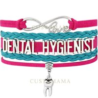 Wholesale Silver Tooth Bracelet - Custom-Infinity Love Dental Hygienist Tooth Charm Wrap Bracelets Best Gift Hot Pink Turquoise Suede & Leather Bracelets Fashion