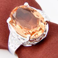 Wholesale Wholesale Citrine Rings - 3PCS LOT Holiday Jewelry Gift Trendy round Citrine Gemstone 925 Sterling Silver Plated Ring R0450