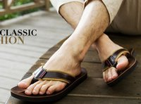 Wholesale Genuine Leather Men Wholesale Sandals - Wholesale-Men Sandals Casual Cowskin Leather Outdoor genuine leather platform shoes summer beach slippers Handmade Breathable Shoe MSH169