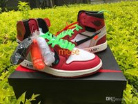 Wholesale Trainers Best Quality - 2017 New Air Retro 1 OFF WHITE x black red men Basketball Shoes Sports Best Quality with Box wholesale trainers size 7-13