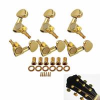 botões de ajuste de peg venda por atacado-6 pçs / set 3R3L Guitar String Tuning Peg Guitar Machine Heads afinadores Semicircle botão para guitarra acústica elétrica peças acessórios