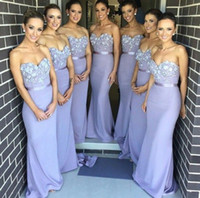 satinado elegante vestido morado al por mayor-Árabe, elegante, elegante, novia, vestidos formales 2019 Womem novia de encaje, sirena larga, vestidos de dama de honor, púrpura satinado